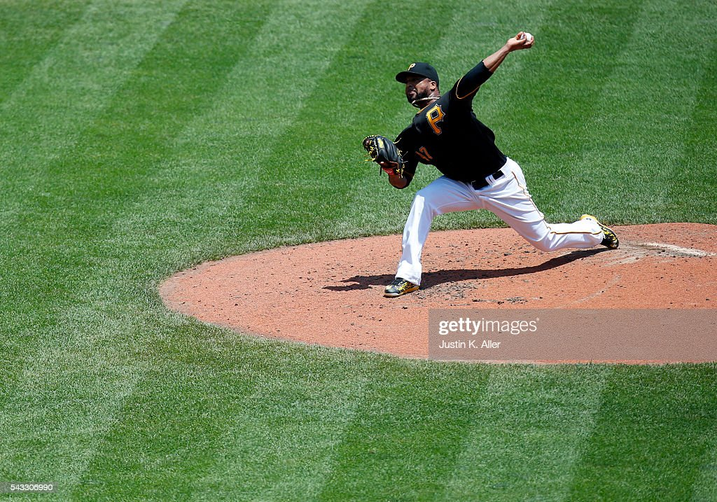 <a gi-track='captionPersonalityLinkClicked' href=/galleries/search?phrase=Francisco+Liriano&family=editorial&specificpeople=580400 ng-click='$event.stopPropagation()'>Francisco Liriano</a> #47 of the Pittsburgh Pirates pitches in the third inning during the game against the Los Angeles Dodgers at PNC Park on June 27, 2016 in Pittsburgh, Pennsylvania.