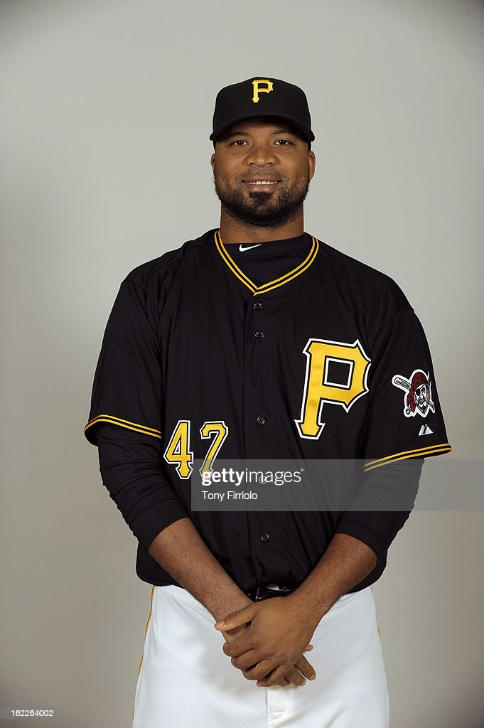 <a gi-track='captionPersonalityLinkClicked' href=/galleries/search?phrase=Francisco+Liriano&family=editorial&specificpeople=580400 ng-click='$event.stopPropagation()'>Francisco Liriano</a> #47 of the Pittsburgh Pirates poses during Photo Day on February 17, 2013 at McKechnie Field in Bradenton, Florida.