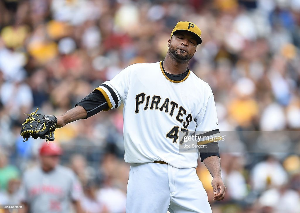 Francisco Liriano #47 of the Pittsburgh Pirates reacts after giving up a two run home run to Chris Heisey #28 of the Cincinnati Reds during the fifth inning on August 31, 2014 at PNC Park in Pittsburgh, Pennsylvania.