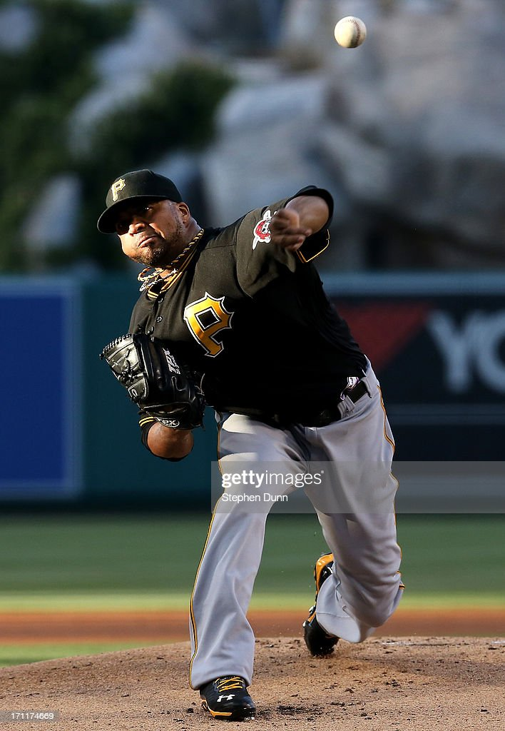 <a gi-track='captionPersonalityLinkClicked' href=/galleries/search?phrase=Francisco+Liriano&family=editorial&specificpeople=580400 ng-click='$event.stopPropagation()'>Francisco Liriano</a> #47 of the Pittsburgh Pirates throws a pitch against the Los Angeles Angels of Anaheim at Angel Stadium of Anaheim on June 22, 2013 in Anaheim, California.