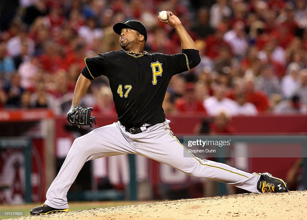 Francisco Liriano #47 of the Pittsburgh Pirates throws a pitch against the Los Angeles Angels of Anaheim at Angel Stadium of Anaheim on June 22, 2013 in Anaheim, California.