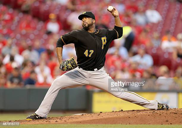 Francisco Liriano of the Pittsburgh Pirates throws a pitch during the game against the Cincinnati Reds at Great American Ball Park on September 8...