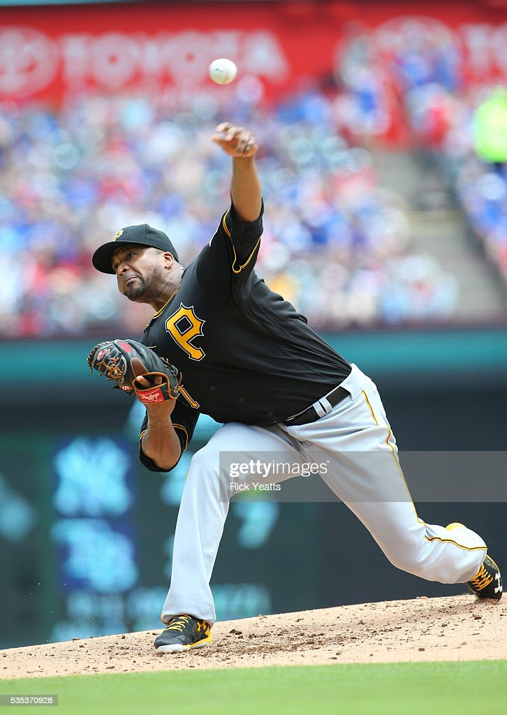 <a gi-track='captionPersonalityLinkClicked' href=/galleries/search?phrase=Francisco+Liriano&family=editorial&specificpeople=580400 ng-click='$event.stopPropagation()'>Francisco Liriano</a> #47 of the Pittsburgh Pirates throws in the first inning against the Texas Rangers at Globe Life Park in Arlington on May 29, 2016 in Arlington, Texas.