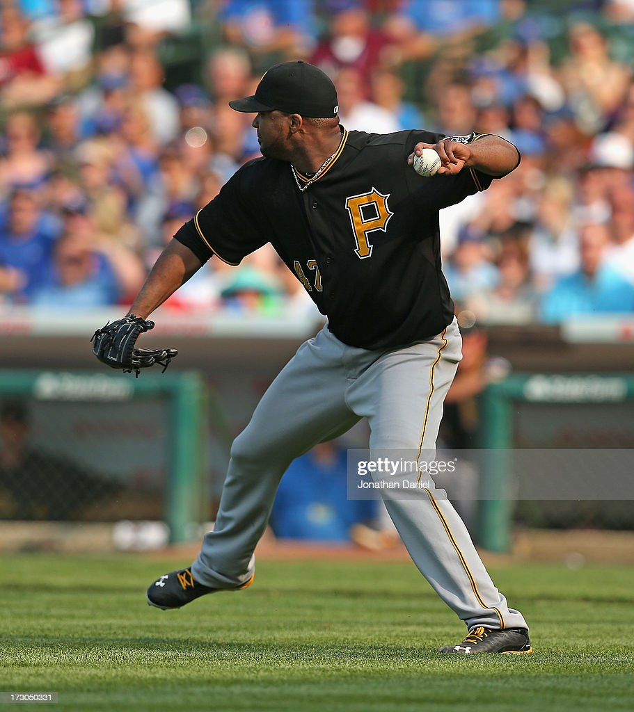 <a gi-track='captionPersonalityLinkClicked' href=/galleries/search?phrase=Francisco+Liriano&family=editorial&specificpeople=580400 ng-click='$event.stopPropagation()'>Francisco Liriano</a> #47 of the Pittsburgh Pirates throws out Darwin Barney of the Chicago Cubs on his way to a compete game win at Wrigley Field on July 5, 2013 in Chicago, Illinois. The Pirates defeated the Cubs 6-2.