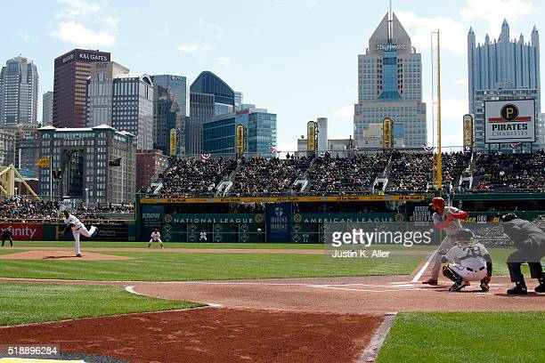 Francisco Liriano of the Pittsburgh Pirates throws the first pitch during opening day against Matt Carpenter of the St Louis Cardinals at PNC Park on...
