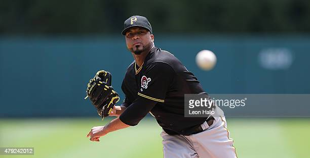 Francisco Liriano of the Pittsburgh Pirates warms up prior to the start of the interleague game against the Detroit Tigers on July 2 2015 at Comerica...