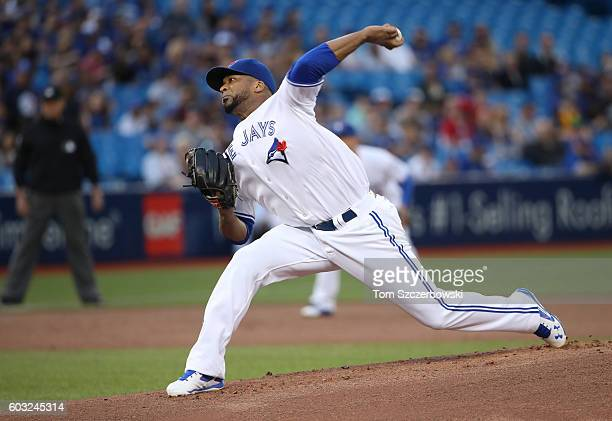 Francisco Liriano of the Toronto Blue Jays delivers a pitch in the first inning during MLB game action against the Tampa Bay Rays on September 12...