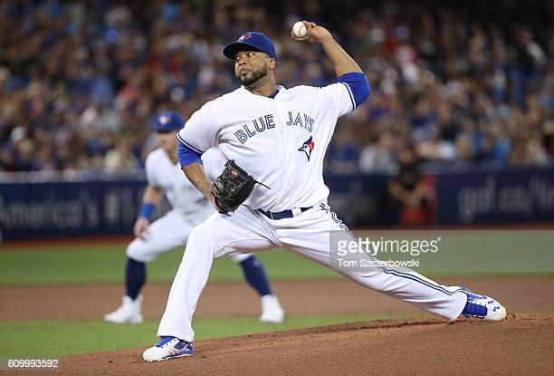 Francisco Liriano of the Toronto Blue Jays delivers a pitch in the first inning during MLB game action against the New York Yankees on September 23...