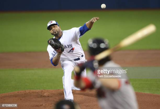 Francisco Liriano of the Toronto Blue Jays delivers a pitch in the first inning during MLB game action against the Boston Red Sox at Rogers Centre on...