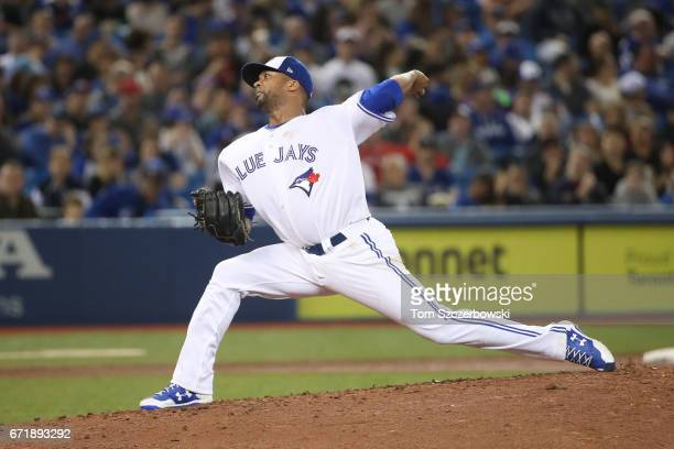Francisco Liriano of the Toronto Blue Jays delivers a pitch in the fifth inning during MLB game action against the Boston Red Sox at Rogers Centre on...