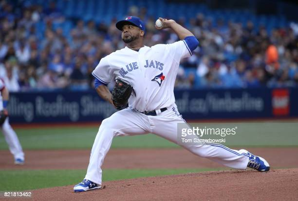 Francisco Liriano of the Toronto Blue Jays delivers a pitch in the first inning during MLB game action against the Oakland Athletics at Rogers Centre...