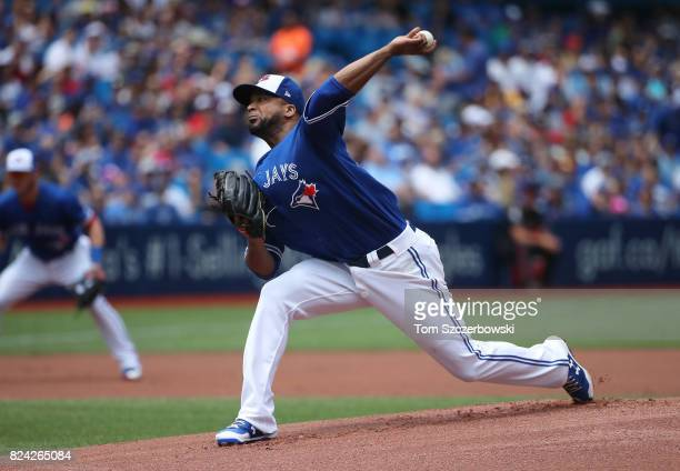 Francisco Liriano of the Toronto Blue Jays delivers a pitch in the first inning during MLB game action against the Los Angeles Angels of Anaheim at...