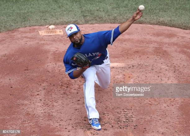 Francisco Liriano of the Toronto Blue Jays delivers a pitch in the third inning during MLB game action against the Los Angeles Angels of Anaheim at...