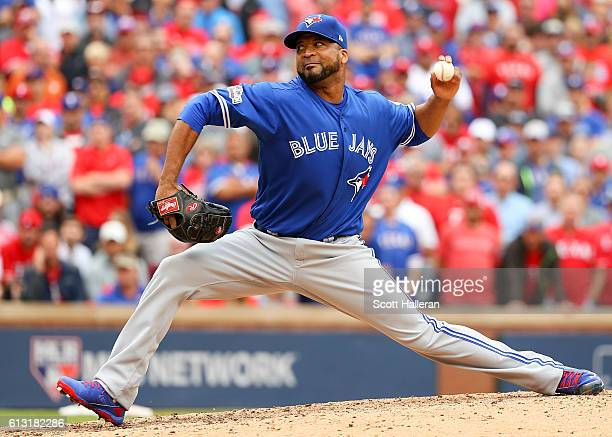 Francisco Liriano of the Toronto Blue Jays delivers pitch against the Texas Rangers in the eighth inning of game two of the American League Divison...