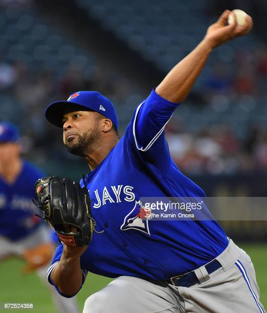 Francisco Liriano of the Toronto Blue Jays in the first inning of the game against the Toronto Blue Jays at Angel Stadium of Anaheim on April 24 2017...