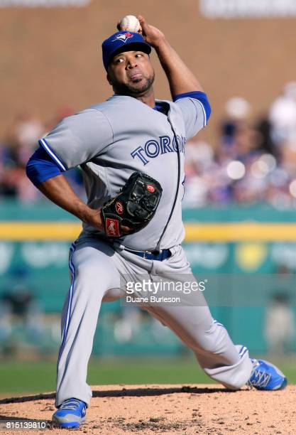 Francisco Liriano of the Toronto Blue Jays pitches against the Detroit Tigers during the second inning at Comerica Park on July 15 2017 in Detroit...