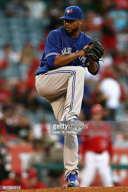 Francisco Liriano of the Toronto Blue Jays pitches during the first inning of a game against the Los Angeles Angels of Anaheim at Angel Stadium of...