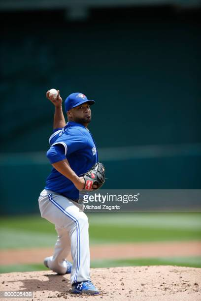 Francisco Liriano of the Toronto Blue Jays pitches during the game against the Oakland Athletics at the Oakland Alameda Coliseum on June 7 2017 in...