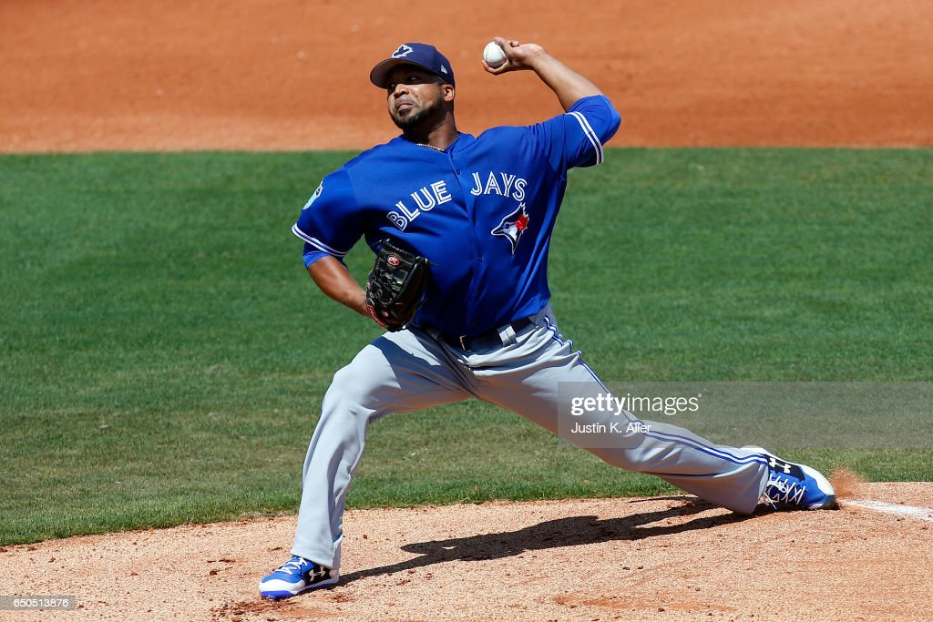 Francisco Liriano #45 of the Toronto Blue Jays pitches in the first inning against the Philadelphia Phillies on March 9, 2017 at Spectrum Field in Clearwater, Florida.