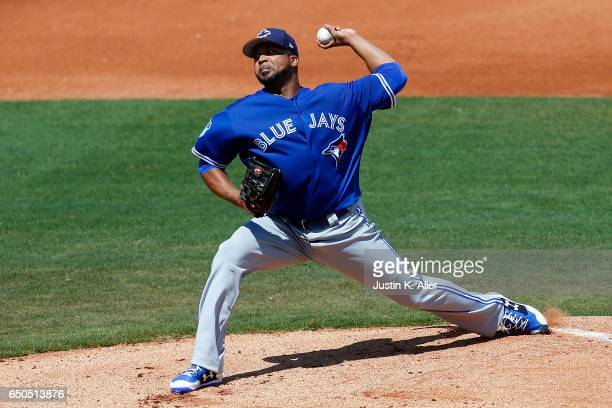 Francisco Liriano of the Toronto Blue Jays pitches in the first inning against the Philadelphia Phillies on March 9 2017 at Spectrum Field in...