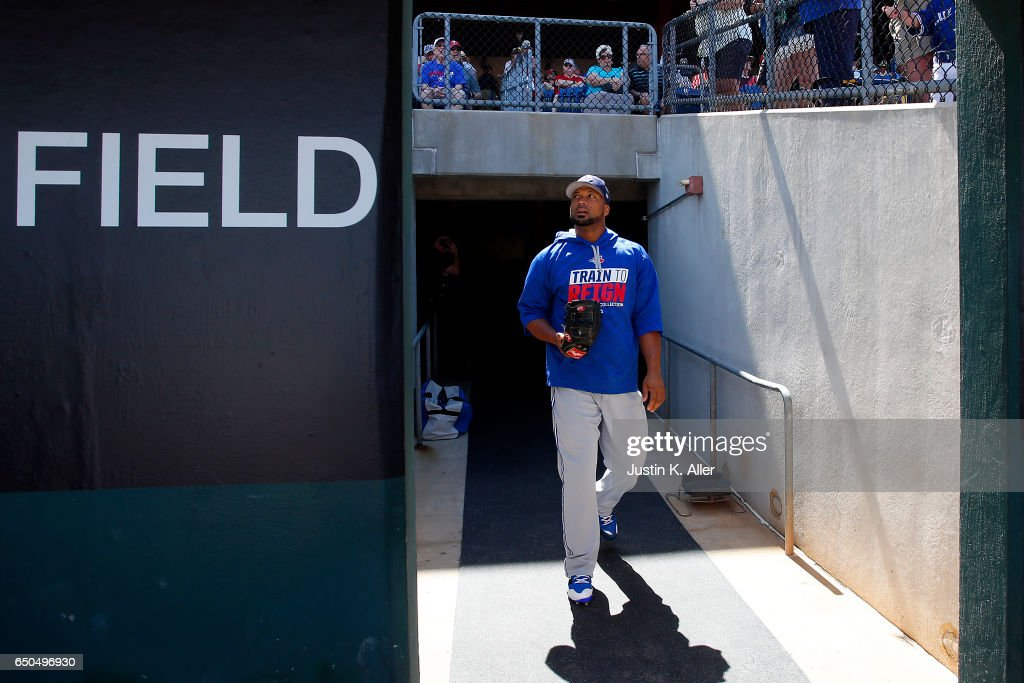 Francisco Liriano #45 of the Toronto Blue Jays walks to the field against the Philadelphia Phillies on March 9, 2017 at Spectrum Field in Clearwater, Florida.
