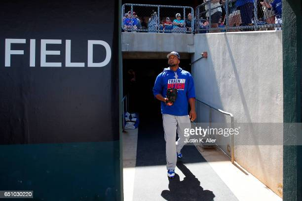 Francisco Liriano of the Toronto Blue Jays walks to the field against the Philadelphia Phillies on March 9 2017 at Spectrum Field in Clearwater...
