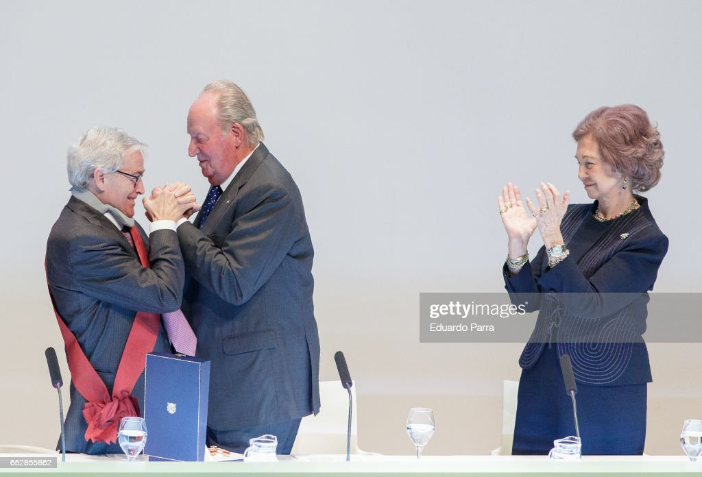 Francisco Luzon, King Juan Carlos and Queen Sofia attend the delivery ceremony of the 'Alfonso X El Sabio' Grand Cross of the Civil Order to Francisco Luzon Lopez at MNCARS on March 13, 2017 in Madrid, Spain.
