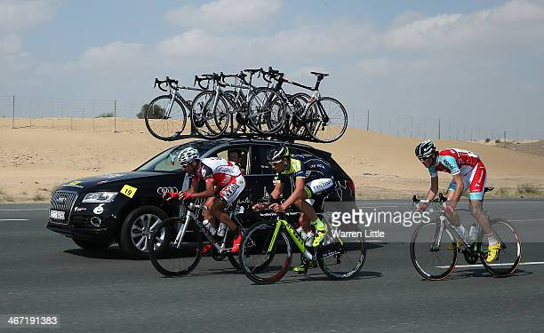 Francisco Mancebo of Spain and Skydive Dubai Pro Cycling Team Jakobus Willem Smit of South Africa and Vini FantiniNippoDe Rosa and Diogo Nunes of...