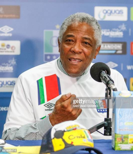 Francisco Maturana speaks during a press conference held to present him as the new coach of the Once Caldas football team in Manizales on June 5 2017...