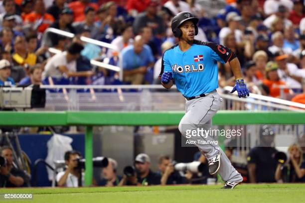 Francisco Meija of the World Team scores a run during the SirusXM AllStar Futures Game at Marlins Park on Sunday July 9 2017 in Miami Florida
