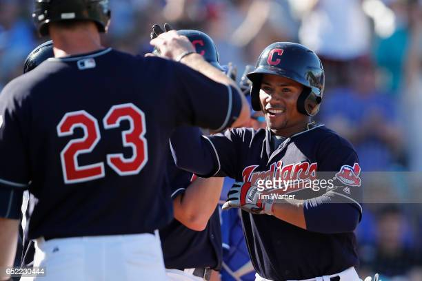 Francisco Mejia of the Cleveland Indians celebrates with teammates after hitting a grand slam in the seventh inning against the Kansas City Royals...