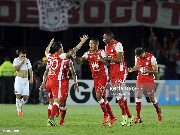 Francisco Meza of Colombia's Santa Fe celebrates after scoring against Argentina's Independiente during their 2015 Sudamericana Cup football match...
