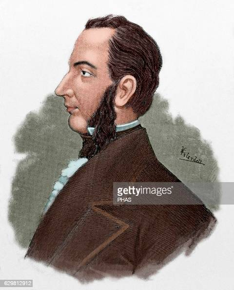 Francisco Morazan Honduran politician President of the Federal Republic of Central America Portrait Engraving in 'Americanos Celebres' 1888 Colored