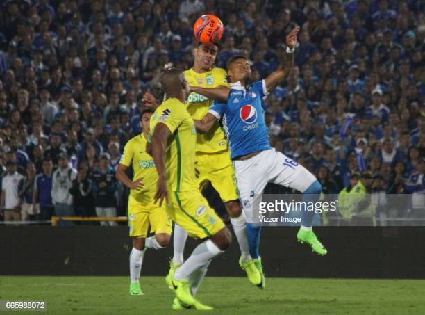 Francisco Najera of Atletico Nacional heads the ball during the match between Millonarios and Atletico Nacional as part of the Liga Aguila I 2017 at...