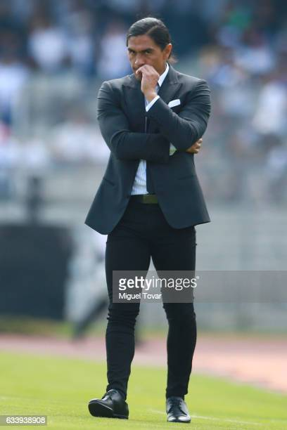 Francisco Palencia coach of Pumas gestures during the 5th round match between Pumas UNAM and Pachuca as part of the Torneo Clausura 2017 Liga MX at...