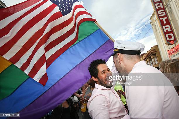 Francisco Pavon L and his friend Brandon McCarthy celebrate in front of San Francisco's iconic Castro Theatern during gay pride weekend on June 27...