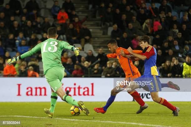 Francisco Pires of Jong Andorra Richairo Zivkovic of Jong Oranje Francisco Pomares of Jong Andorra during the EURO U21 2017 qualifying match between...