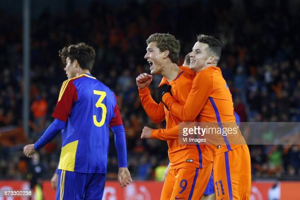 Francisco Pomares of Jong Andorra Sam Lammers of Jong Oranje Oussama Idrissi of Jong Oranje during the EURO U21 2017 qualifying match between...