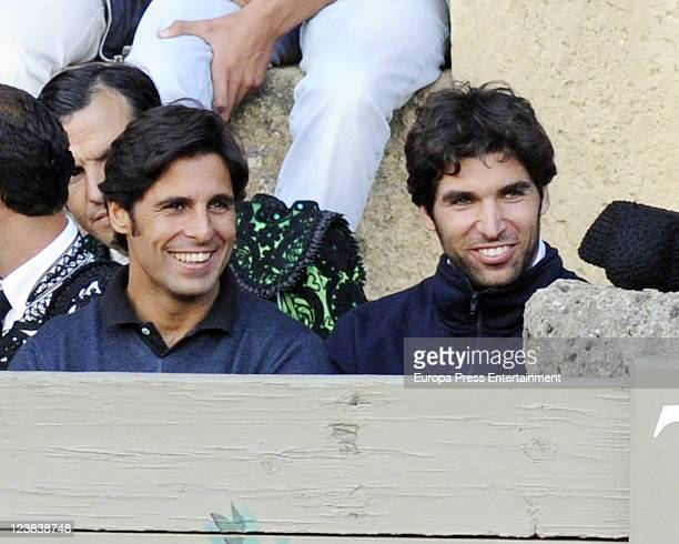 Francisco Rivera and Cayetano Rivera attend a bullfighting in Ronda the day before 'Goyesca' Bullfight on September 2 2011 in Ronda Spain
