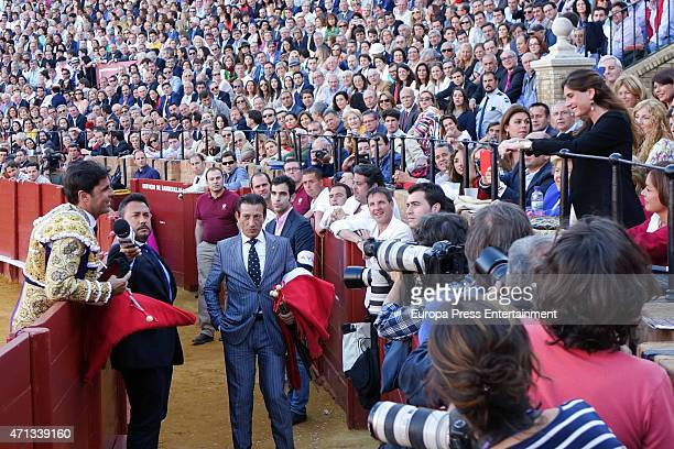 Francisco Rivera and Lourdes Montes attend the bullfighting at April's Fair at Maestranza bullring on April 24 2015 in Seville Spain