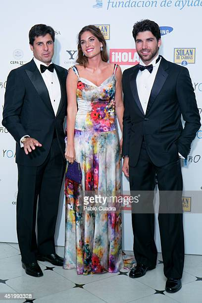 Francisco Rivera and wife Lourdes Montes and Cayetano Rivera attend Yo Nino Foundation benefit dinner on July 10 2014 in Madrid Spain