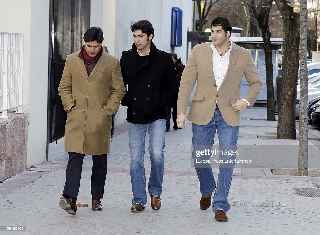 Francisco Rivera, Cayetano Rivera and Julian Contreras attend court on January 14, 2013 in Madrid, Spain. The bullfighter Francisco Rivera and ex wife Duchess of Montoro Eugenia Martinez de Irujo are fighting for the custody of their daughter.
