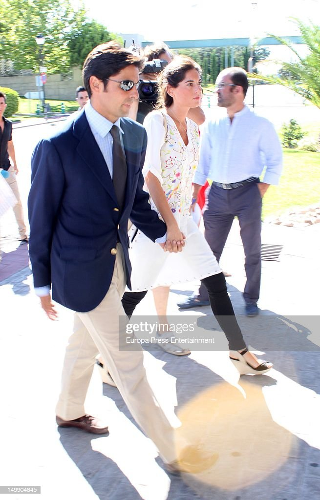 Francisco Rivera Ordonez and his girlfriend Lourdes Montes attend Belen Ordonez's funeral on August 3, 2012 in Madrid, Spain. The bullfighter Antonio Ordonez's daughter died in a private center for an enphisema.