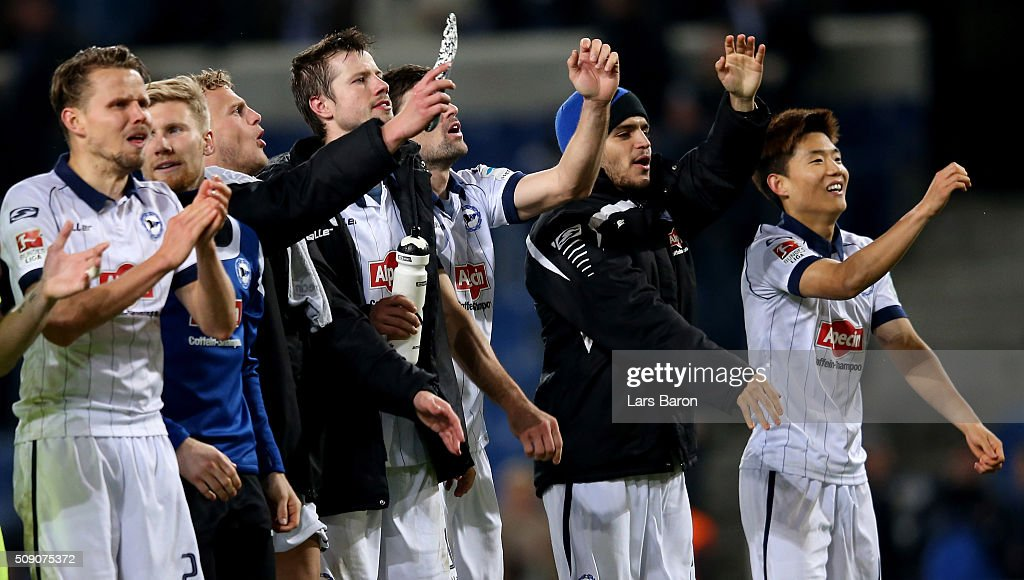 Francisco Rodriguez of Bielefeld and Seung Woo Ryu celebrate with team mates after winning the Second Bundesliga match between Arminia Bielefeld and MSV Duisburg at Schueco Arena on February 8, 2016 in Bielefeld, Germany.