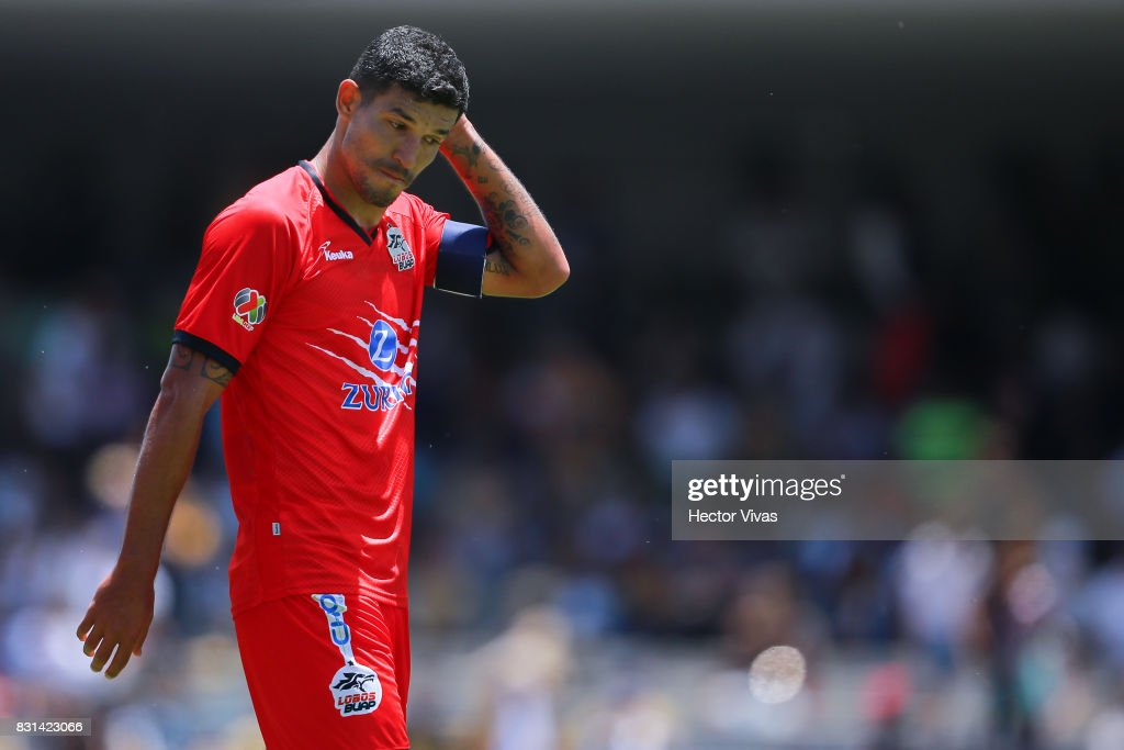 Francisco Rodriguez of Lobos BUAP reacts during the fourth round match between Pumas UNAM and Lobos BUAP as part of the Torneo Apertura 2017 Liga MX at Olimpico Universitario Stadium on August 13, 2017 in Mexico City, Mexico.