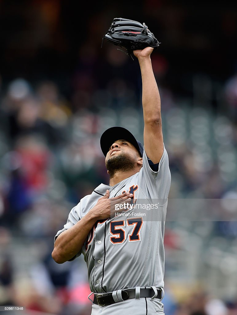 Francisco Rodriguez #57 of the Detroit Tigers celebrates a win of the game against the Minnesota Twins on April 30, 2016 at Target Field in Minneapolis, Minnesota. The Tigers defeated the Twins 4-1.