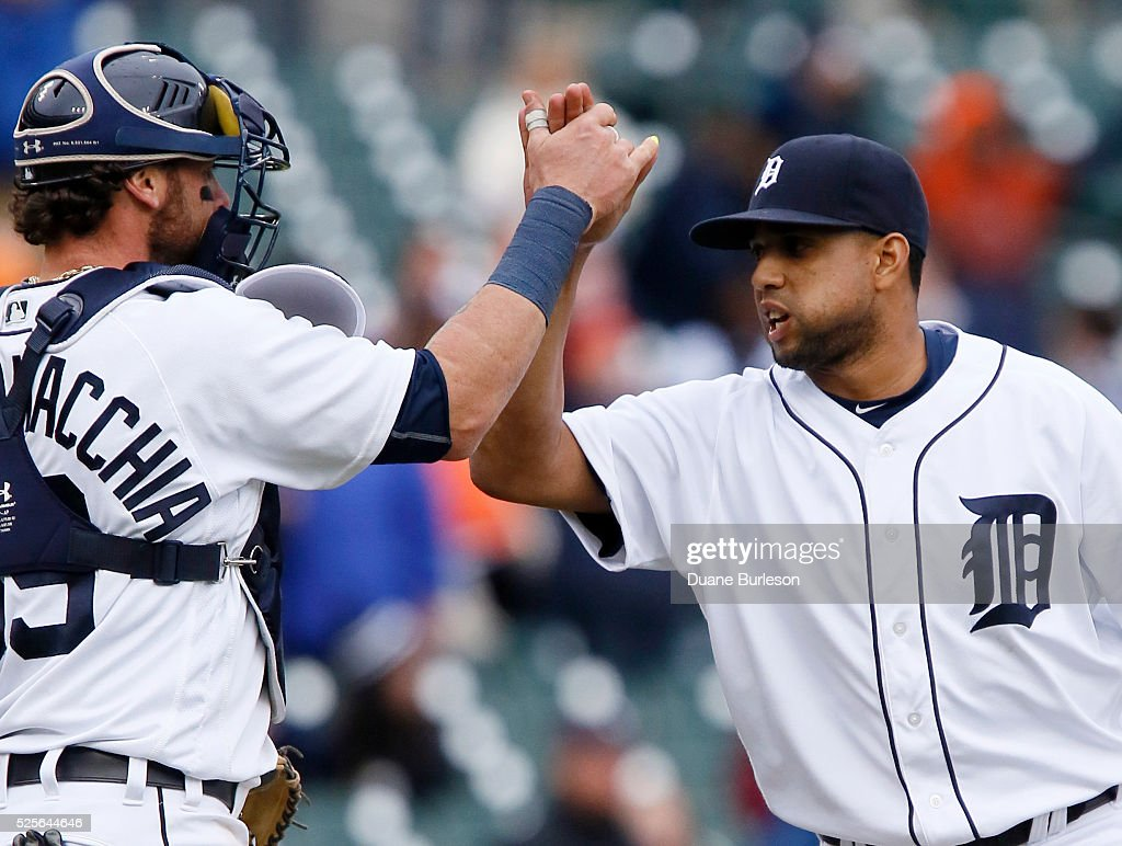 Francisco Rodriguez #57 of the Detroit Tigers celebrates with Jarrod Saltalamacchia #39 after recording his fifth save in a 7-3 win over the Oakland Athletics at Comerica Park on April 28, 2016 in Detroit, Michigan.
