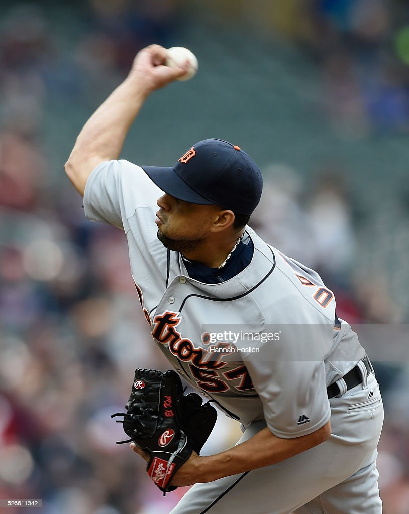 Francisco Rodriguez #57 of the Detroit Tigers delivers a pitch against the Minnesota Twins during the ninth inning of the game on April 30, 2016 at Target Field in Minneapolis, Minnesota. The Tigers defeated the Twins 4-1.