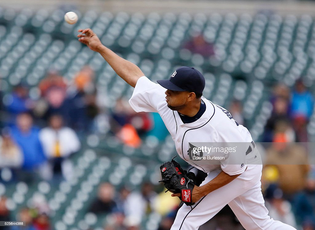 Francisco Rodriguez #57 of the Detroit Tigers pitches against the Oakland Athletics during the ninth inning at Comerica Park on April 28, 2016 in Detroit, Michigan. Rodriguez recorded his fifth save in a 7-3 win over the Athletics.