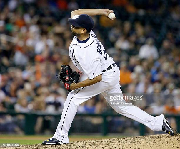 Francisco Rodriguez of the Detroit Tigers pitches against the Philadelphia Phillies during the ninth inning at Comerica Park on May 24 2016 in...
